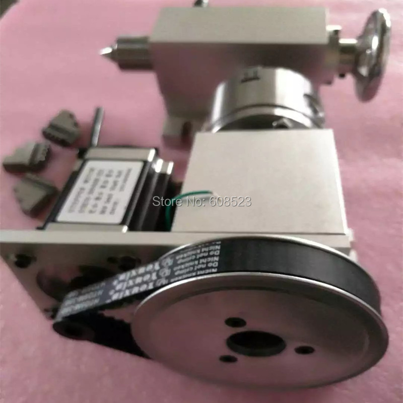 Nema 23stepper motor (6:1) K12-100mm 4 Jaw Chuck 100mm CNC 4th axis A aixs rotary axis + tailstock for cnc router no tax to russia cnc 5 axis t chuck type include a aixs