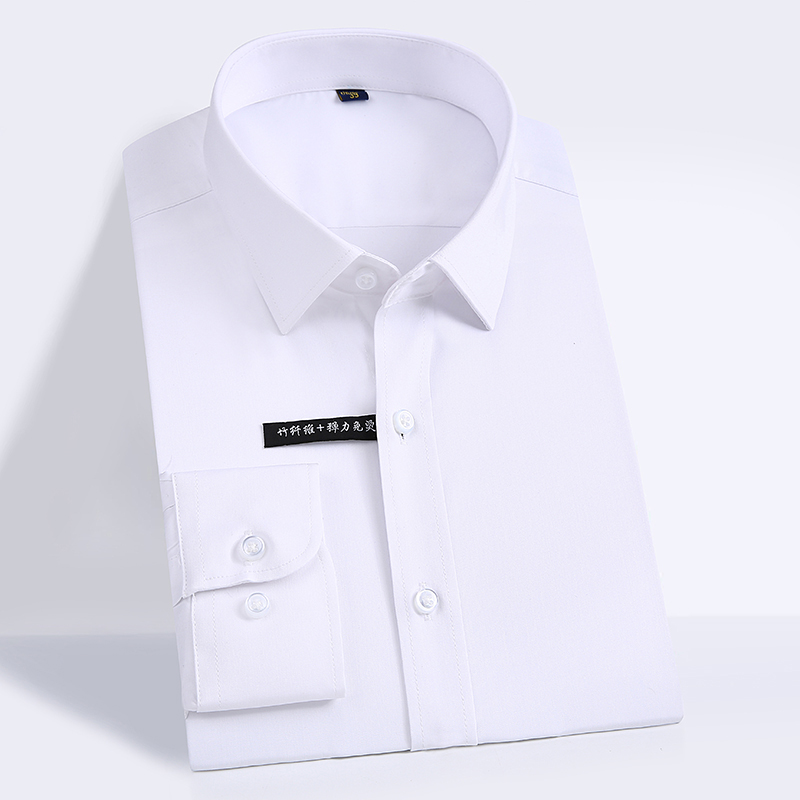 High Quality Classic Style Bamboo Fiber Men Dress Shirt Solid Color Men's Social Shirts Office Wear Easy Care(Regular Fit) 12