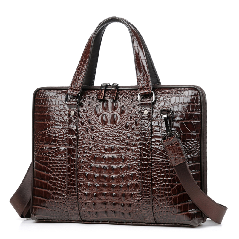 PURANI Male Business Bag High Quality Leather Men Briefcase Genuine Leather Handbag Crocodile Trendy Computer Laptop Bag TotesPURANI Male Business Bag High Quality Leather Men Briefcase Genuine Leather Handbag Crocodile Trendy Computer Laptop Bag Totes