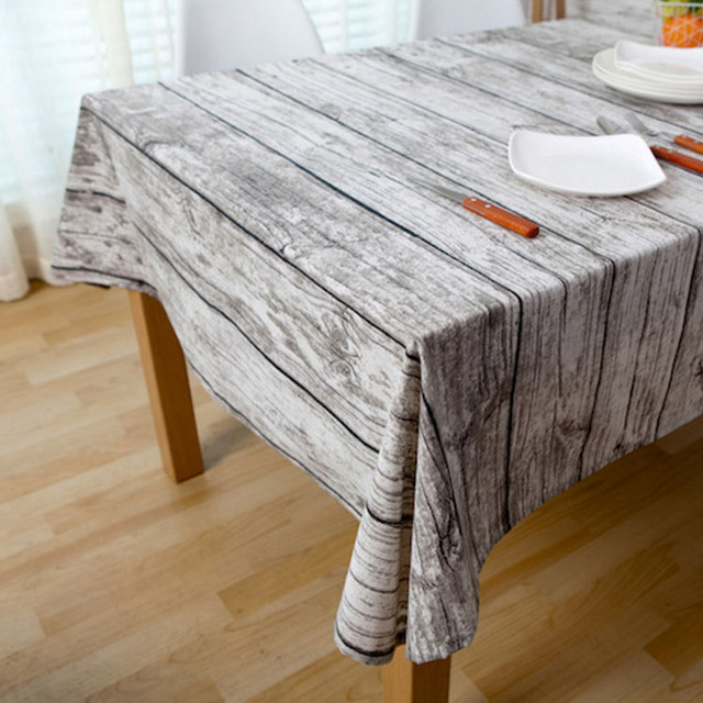Vintage Wood Grain Fabric Table Cloth Rustic Tablecloth Linen Coffee  Tablecloths Wedding Decor For Kitchen Mantel