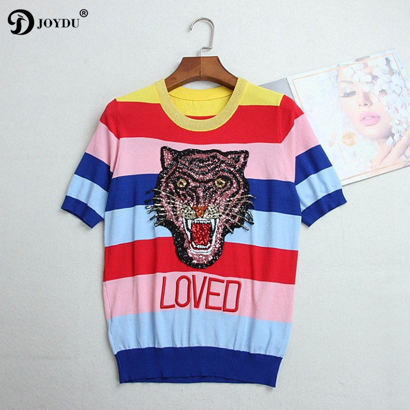 Cute Runway Knitted Summer Top 2018 New Fashion Tiger Head Sequins Embroidery T-shirts for Women Rainbow Striped Female T-shirt