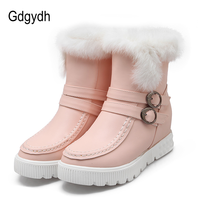 Gdgydh Brand Real Fur Boots Women Wedges Shoes For Winter 2017 New Leather Plush Warm Shoes Fashion Buckle Snow Boots Plus Size древпром стул древпром астра 765 черный t5h r wch