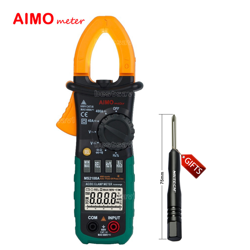 Aimometer MS2108A Digital LCD AC DC Current Clamp Meter Auto Range Multimeter Frequency Capacitance Meter Tester  цены