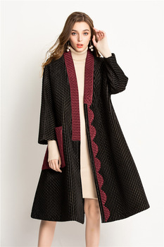 HOT SELLING miyake fashion outerwear pleated patchwork pockets length sleeve A-Lin LOOSE outerwear   IN STOCK