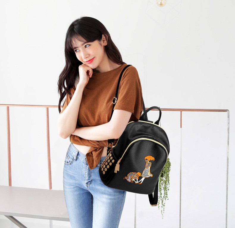 Yongbong Fashion Rivet Pu Leather Backpack Women Embroidery School Bag For Teenage Girls Brand Ladies Backpacks Black Sac A Dos #6