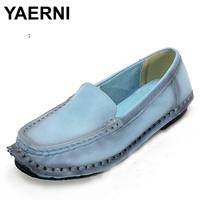 YAERNI Fahion Spring And Autumn Handmade Women Shoes Woman Loafers Genuine Leather Shoes Flat Casual Work