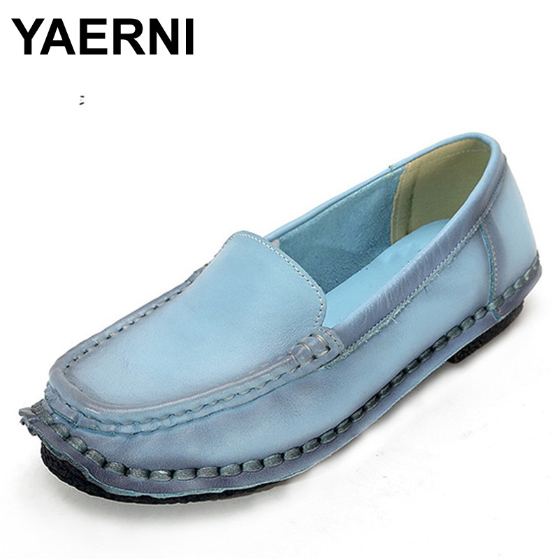 YAERNI Fahion Spring And Autumn Handmade Women Shoes Woman Loafers Genuine Leather Shoes Flat Casual Work Shoes Women Flats 2016 spring and autumn women s shoes female flat heel maternity shoes genuine leather shoes flats for women