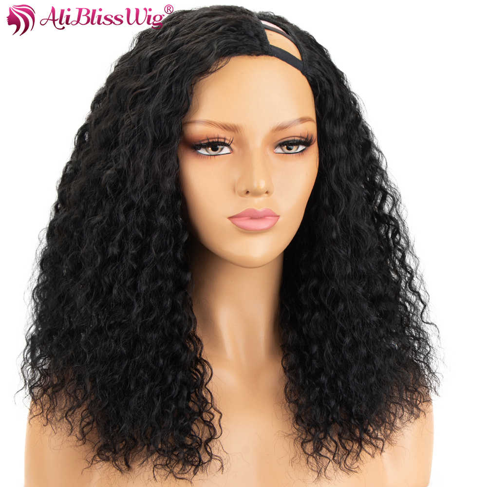 100% Human Hair Curly U Part Wigs For Black Women Left Part 150% Density Brazilian Remy Hair Curly Wigs Full End Aliblisswig