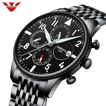 NIBOSI Watch men Brand Luxury Fashion Quartz Sport Watches Mens Full Steel Military Clock Waterproof Men Watch Relogio Masculino