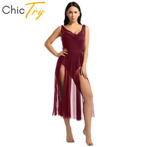 CHICTRY Vestido de Danza Contemporanea Mujer Maillot Baile Moderno Vestido de Ballet Largo Ropa Danza Latina Falda Irregular