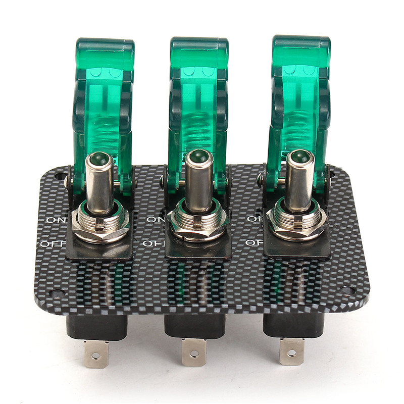3x 12V Switch Car Racing On Off Aircraft Type Green LED Toggle Switch Control Red Flip Cover Low Price kn3d 103 ac 12v 25a 3 pins on off on 3 ways 1p2t spdt toggle switch replacement