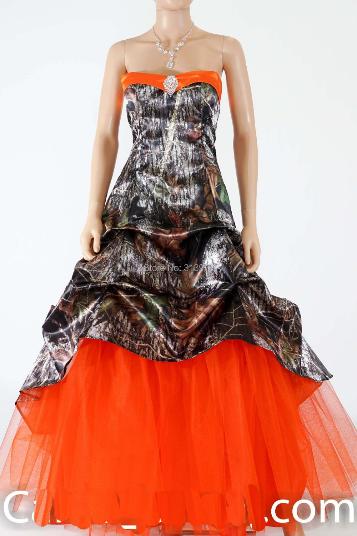 Strapless Sweetheart Mossy Oak Hunter Orange Camo Prom