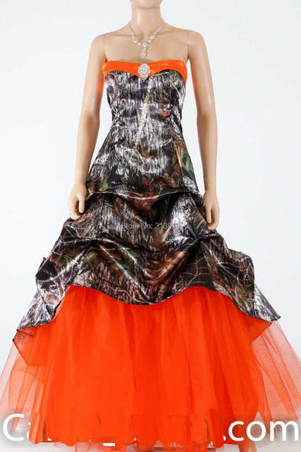 a34b41c6e04f7 strapless sweetheart mossy oak hunter orange camo prom dresses 2019  camouflage party dress free shipping