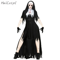 Halloween Nun Cosplay Costume Women Black Vampire Fantasy Dress Terror Sister Party Disguise Female Fancy