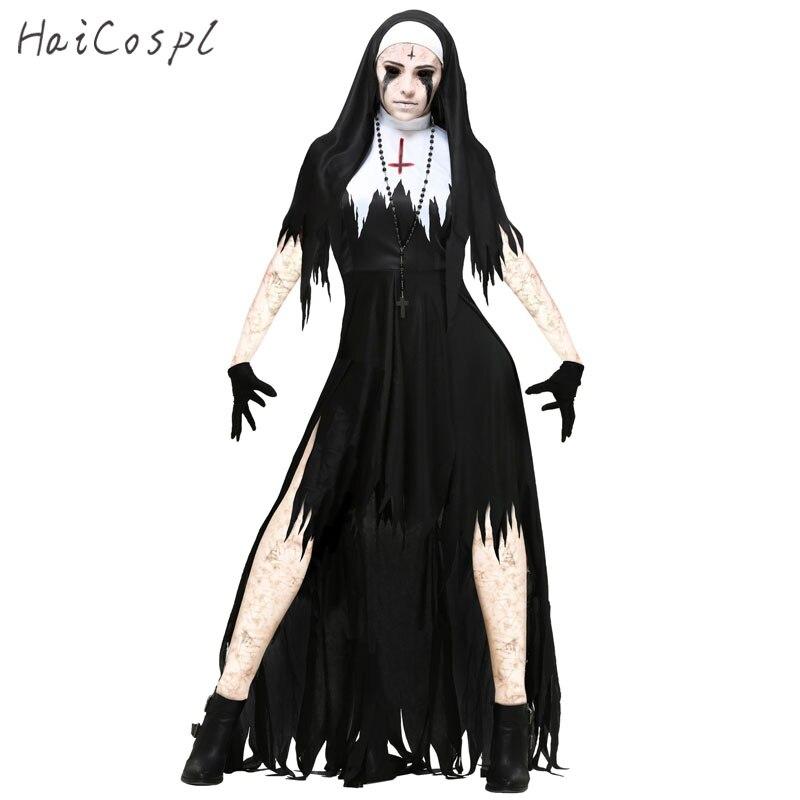 Halloween Nonne Cosplay Kostüm Frauen Schwarz Vampire Fantasie Kleid Terror Schwester Party Disguise Weibliche Phantasie Für Erwachsene