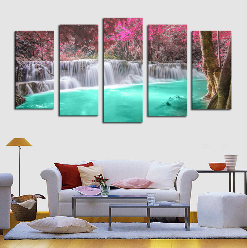 Online Shop 5 Panels No Frame Waterfall Modern Home Wall Decor Painting Canvas Art Hd Print Painting Canvas Picture For Home Decor Aliexpress Mobile