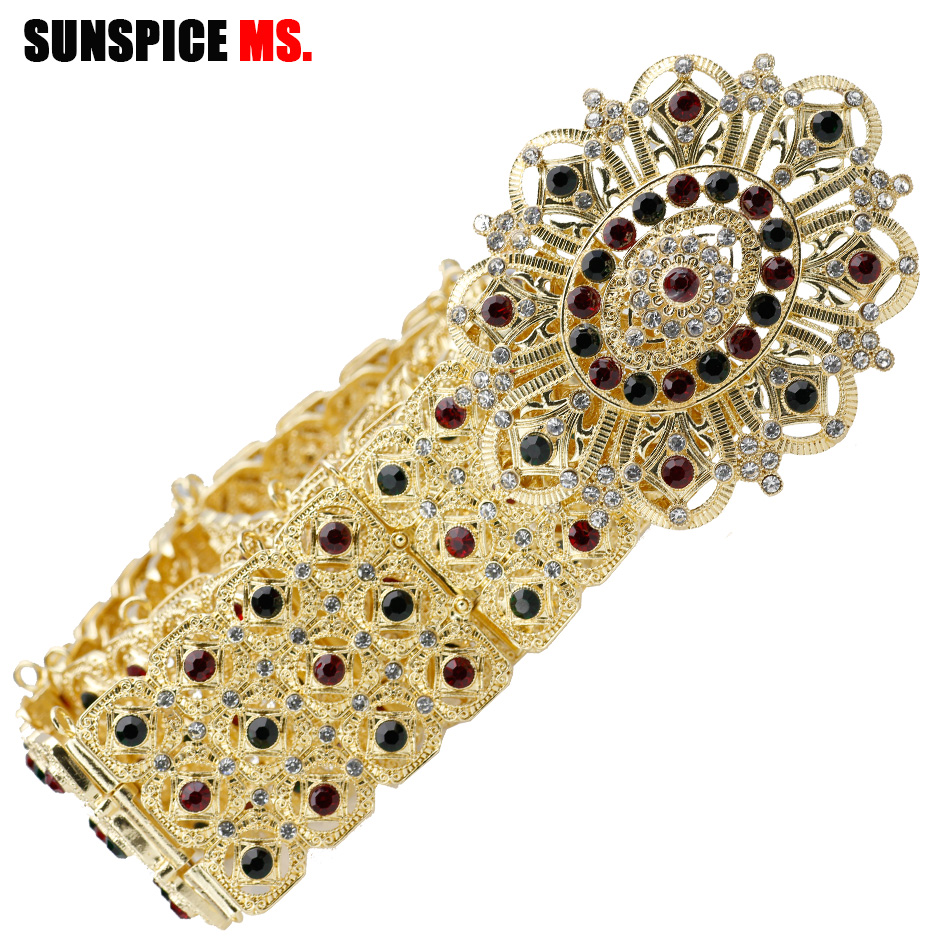 Hesiod Indian Wedding Jewelry Sets Gold Color Full Crystal: SUNSPICE MS Fashion Gold Color Metal Wedding Dress Belt