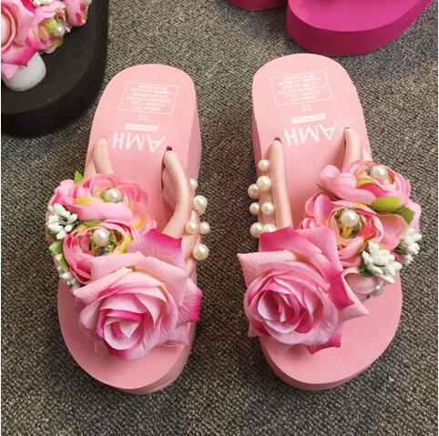 HAHAFLOWER Summer Wedges Slippers Platform High Heels Women Slippers Ladies Outside Shoes free shipping
