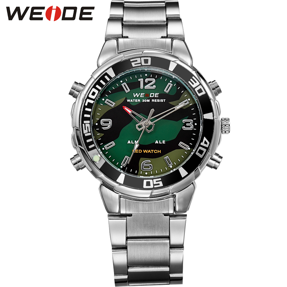 WEIDE Men Sports Quartz Watch LED Analog Digital Display 30M Waterproof Army Military Stainless Steel Wrist Watch With Alarm weide irregular men military analog digital led watch 3atm water resistant stainless steel bracelet multifunction sports watches