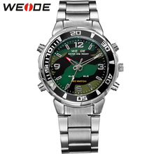WEIDE Men Sports Quartz Watch LED Analog Digital Display 30M Waterproof Army Military Stainless Steel Wrist Watch With Alarm цена