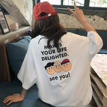 Yfashion Summer Cartoon T Shirt Women New Fashion Funny Sister Couple T-Shirts Casual Loose Letter Tee Female