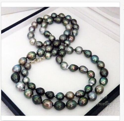 charming stunning 12-13mm Tahitian black green multicolor pearl necklace 38inch shipping freecharming stunning 12-13mm Tahitian black green multicolor pearl necklace 38inch shipping free