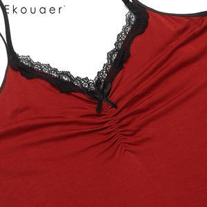Image 5 - Ekouaer femmes Camisole chemise de nuit vêtements de nuit sexy col en v sans manches dentelle garniture arc plissé lâche été chemise de nuit chemises de nuit