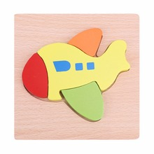 Children 3D Wooden Puzzle Cartoon Animal Vehicles Tangram Jigsaw Board Puzzle Kids Intelligence Developmental Toys