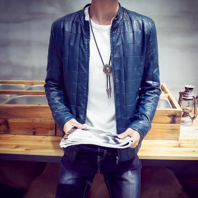 LQ16 Mens Winter Leather Jackets Classical Plaid Mens Leather Jackets And Coats Pilot Leather Jacket Men