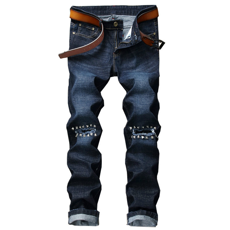 New Biker Men Ripped Jeans Pants With Rivets Punk Rock Hole  Straight Distressed Denim Slim Fit Male Blue Hip Hop Trousers punk rave new products elastic coarse slanting stripe punk male trousers slim fit jeans