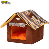 Stripe Soft Home Shape Dog Bed Dog Kennel Pet House For Puppy Dogs Cat Small Animals
