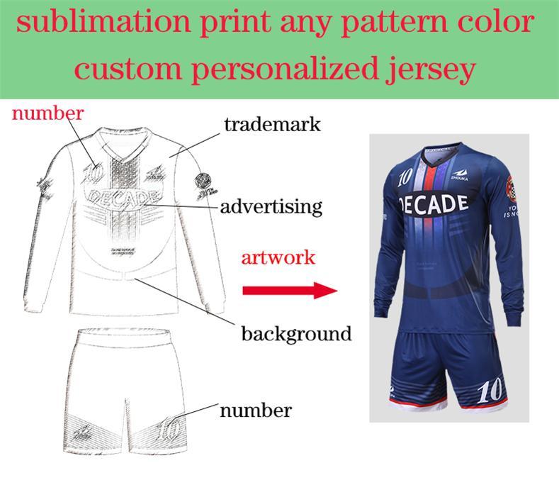bae7bdf53b1 custom team jerseys soccer design football kits online superman long sleeve  t shirt maglia calcio voetbal shirts fussball trikot-in Soccer Jerseys from  ...