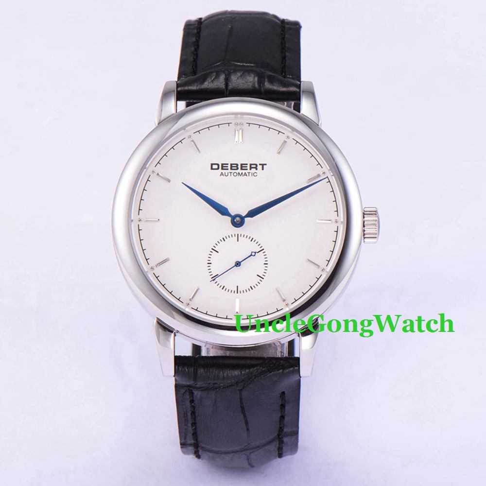 Debert 40mm Sapphire Glass Polished Case Mens Automatic Watches White Dial Blue Hands  Leather Strap