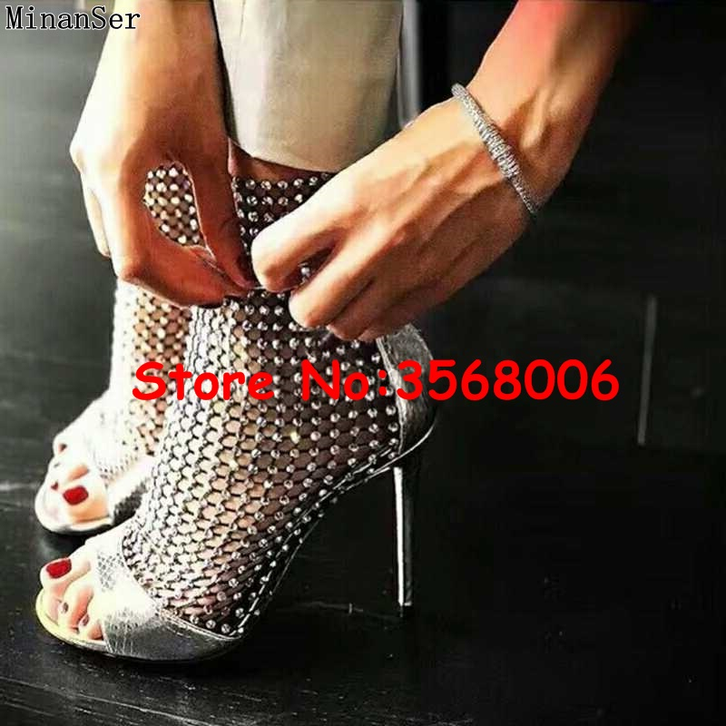 10cm black Sangle 7cm out Silver Celebrity Bottines Sandales Femme black Boucle Dame Cut Cristal Toe Embelli Sexy Stiletto 10cm Peep silver Maille Talons 7cm Marque Zq1RBF