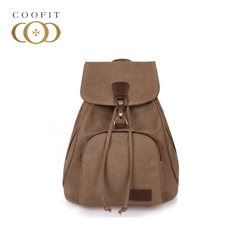 coofit Girls Canvas School Bags Stylish Travel Rucksack Vintage Large Capacity Backpack Bags For Women 2017 Mochila 4 Colors