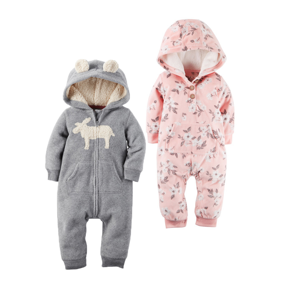 2018 New Bebes Clothes Newborn One Piece Fleece Hooded Jumpsuit Long Sleeved Spring Baby Girls Boys Body Suits Romper
