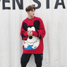 Oversize Men Women Fashion Cartoon Loose Long Sleeve Sweater High Street Hip Hop Knitted Pullover Sweater