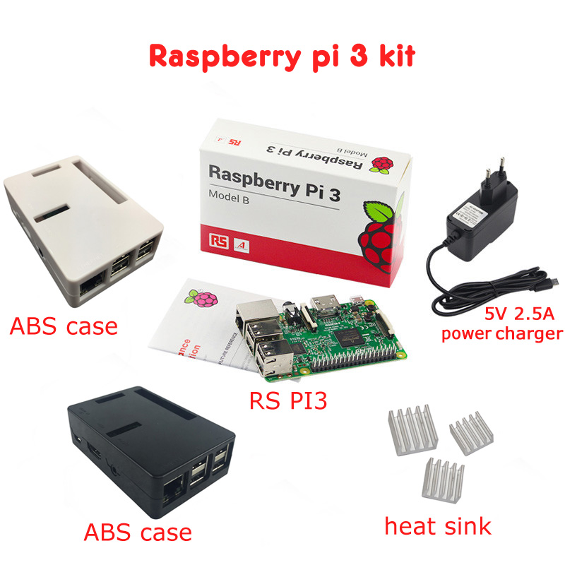 Framboise pi 3 kit de bricolage + framboise pi 3 coffret ABS + 3 pièces. Radiateur aluminium + 5V2. 5A chargeur jack framboise pi 3 B