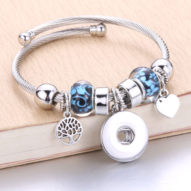 Trendy Elastische metall perlen Schnapp Armband Druckknopf Armband Armreifen fit 18 MM Snap Schmuck blume perlen machen Schmuck