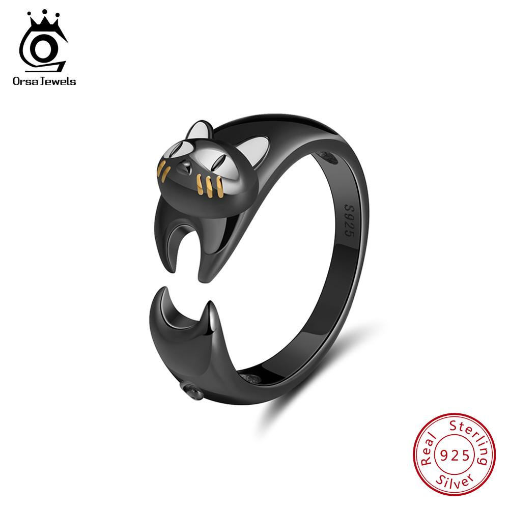 ORSA JEWELS Authentic 925 Sterling Silver Women Ring Vivid Black Stretching Cat Adjustable Size High Polished Girl Jewelry SR93