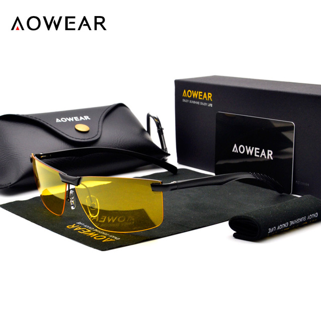 AOWEAR HD Night Vision Glasses Men Oculos Driver Goggles Yellow Driving Glasses Man Polarized Sunglasses for Night gafas de sol