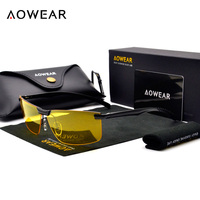 AOWEAR Brand Men S HD Night Vision Glasses Men Driving Goggles Sunglasses Polarized Male UV400 Driver