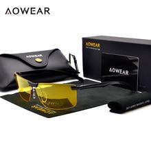Aowear HD Ночное видение Очки Для мужчин Óculos Очки для автоводителей желтый для вождения Очки человек поляризованные Солнцезащитные очки для женщин для ночного gafas-де-сол