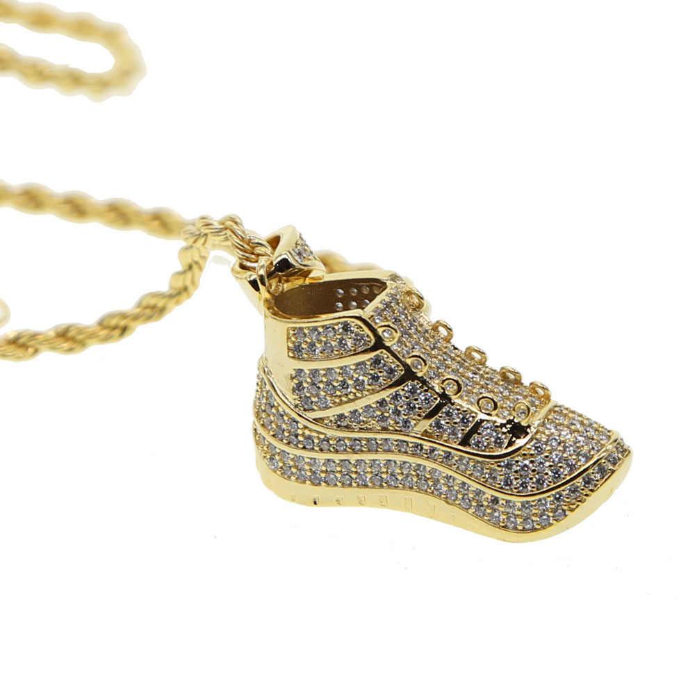 Silny wisiorek naszyjniki długi sznureczek/łańcuszek mięśni mężczyzn sportowe buty pave CZ Hip Hop kulturystyka biżuteria dla mężczyzn Drop shipping