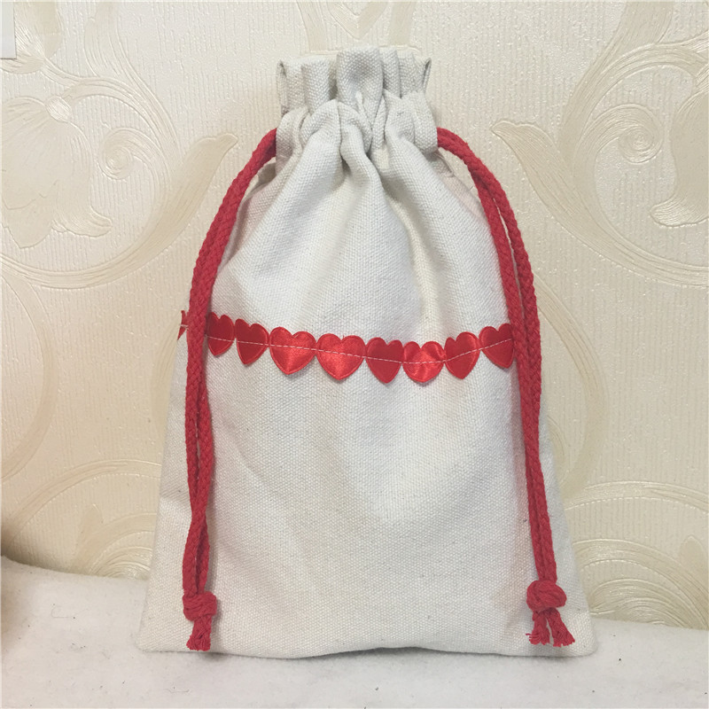 YILE 1pc Off White Cotton Canvas Red Satin Love Heart Drawstring Organizer Wedding Party Gift Bag Red Love Heart 8123b