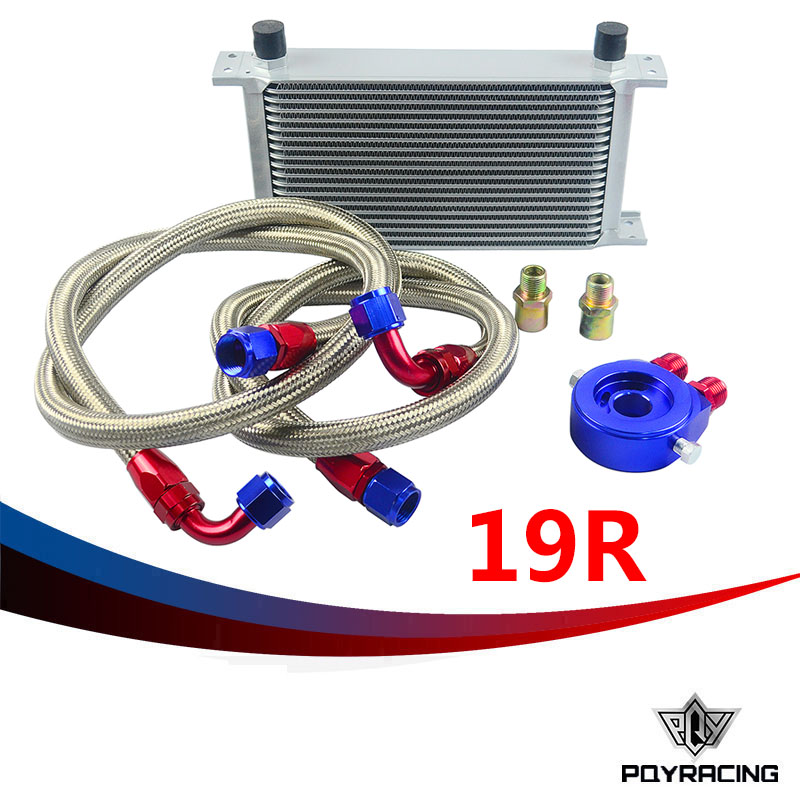 PQY RACING- AN10 OIL COOLER KIT 19RWOS TRANSMISSION OIL COOLER SILVER+OIL FILTER  ADAPTER BLUE + STAINLESS STEEL BRAIDED HOSE pqy store an10 oil cooler kit 25rwos transmission oil cooler silver oil filter adapter blue pqy3825b