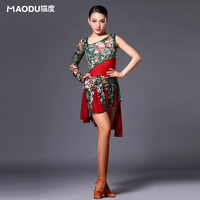Brand MAODU Fashion Adult Women Latin Dance Dress Floral Exercise Clothing Single Sleeve Stamp Contest Costume