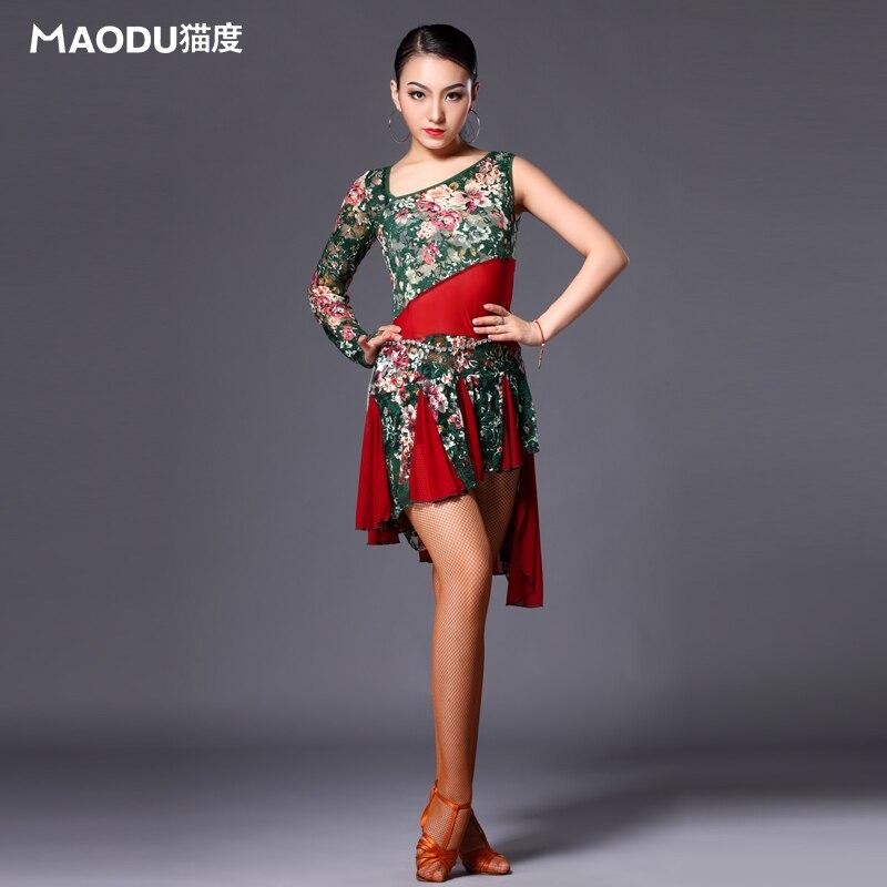 Märke MAODU Mode Vuxna kvinnor Latin Dance Klänning Blommorövningskläder Singel Ärm Stämpel Tävling Kostym Rumba