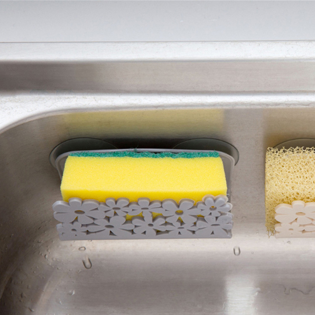 Kitchen Organizer Rack for Dish Clothes Sink Sponge Dish Holder Clip with Suction Cup Hollow Flower Kitchen Bathroom Drying Rack 5