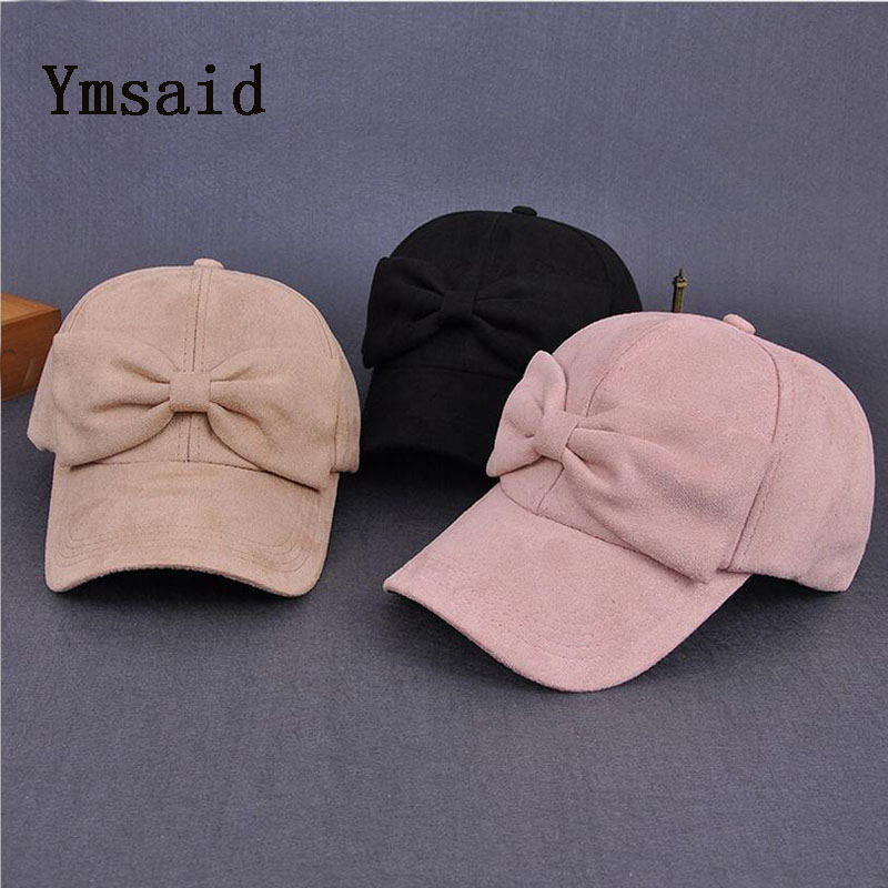 Ymsaid 2017 Autumn and winter Style Caps Baseball Caps Casquette Adjustable Suede Solid Bow Girl Cap Snapback Hip Hop Cap female caps for autumn